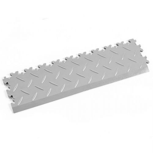 Light Grey Diamond Plate - Interlocking Tile Edging